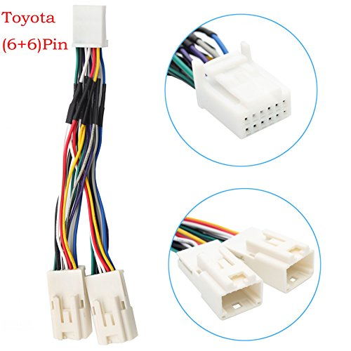 Auxillary Adapter,Yomikoo Y Cable Radio Wiring Harness for USB Adapter CD Changer Navigation Device Fit for Toyota (6+6) Pin 2003-2014 Toyota Camry Corolla Highlander RAV4 Yaris