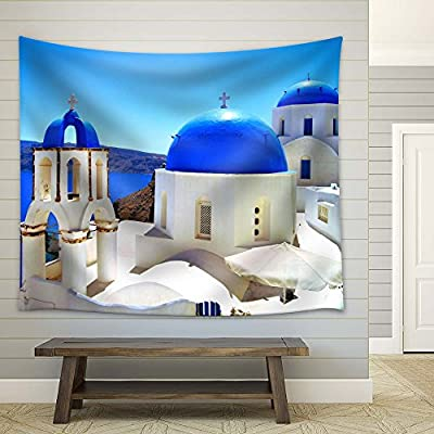 Premium Product, Incredible Artisanship, Blue Domed Church in Greek Islands Santorini