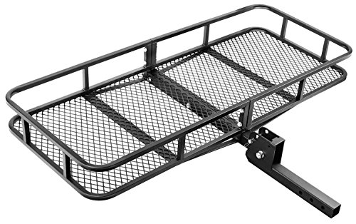 "Leader Accessories Hitch Mount Rack Cargo Basket 60"" x 24"" x 6"" Folding Cargo Carrier Luggage Basket With 500 LB Capacity Fits to 2"" Receiver For SUVs,Trucks And Cars"