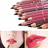 Mefeir 12pcs Women's Professional Makeup Lipliner Waterproof Lip Liner Pencil Set