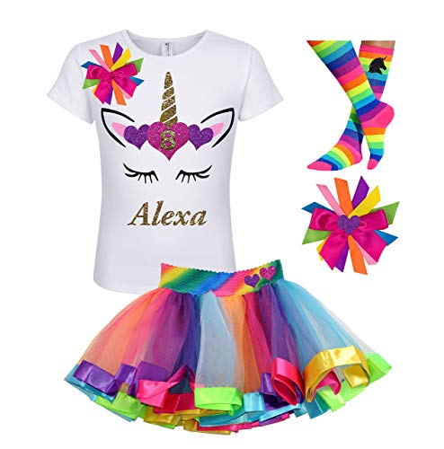 8th Birthday Unicorn Shirt Rainbow Tutu Outfit Girls 4PC Gift Set Personalized ()