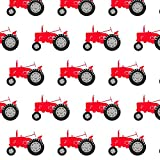 Tractor Fabric Tractor - Red On White by Littlearrowdesign Printed on Basic Cotton Ultra Fabric by the Yard by Spoonflower