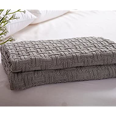 iSunShine Cotton Knitted Throw Soft Warm Armchair Slipcover Weaving Parttern Couch Cover Blanket, 43*70 Inches, Grey