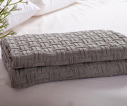 iSunShineコットンThrowソフト暖かいArmchair Slipcover Weaving Partternクッションカバー毛布 Knitted Blanket 43 BABZG1118-61 by 70 レビューを書けば送料当店負担 B00QGMFQR8 激安通販販売 グレー Inch