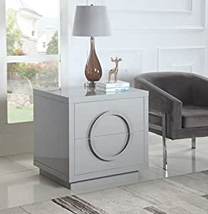 Iconic Home Sorrento Nightstand Side Table Crocodile Lacquer Finish with 2 Self Closing Drawers, Modern Contemporary, Grey, Side Table