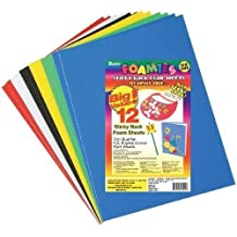 Sticky Back Foam Sheets (9 x 12 Inches) 12 Per Pack - Basic Colors