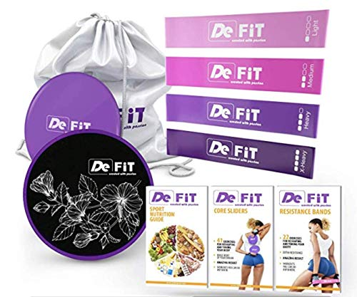 DeFiT Resistance Bands & Exercise Sliders - Best Exercise Bands - 12inch Resistance Loops - Workout Bands + Free Fitness iOS/Android App + Carry Bag + 3 eBooks (DeFiT Purple)
