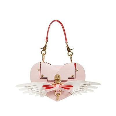 WTING Femmes sac bandoulière sac à bandoulière sac à main PU rose sac en forme de coeur sac d'arc sac d'amour rivet sac sac de verrouillage sac d'aile