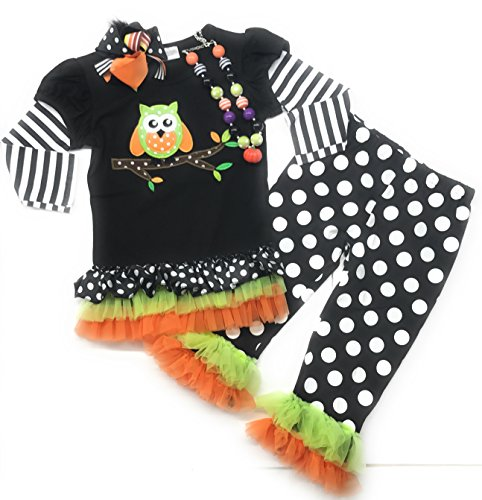 Wholesale Halloween Korker Bows (Cute Kids Clothing Toddler Girl/Girls Owl Boutique Outfit Halloween Free Accessories 4/5, 5/6 (XL 5-6)