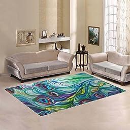 JC-Dress Area Rug Cover Peacock Modern Carpet Cover 7\'x5\'