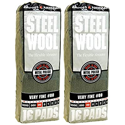 Rhodes American Very Fine #00 Steel Wool, 16 Pads (Pack of 2, 32 Pads Total), Use for Cleaning, Polishing, Buffing, Refinishing, Gentle Abrasiveness: Industrial & Scientific