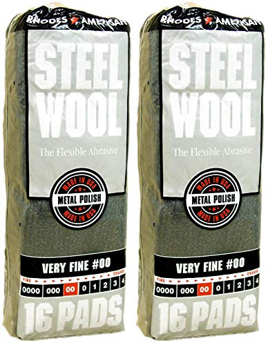 Rhoades American Very Fine #00 Steel Wool, 16 Pads (Pack of 2, 32 Pads Total), Use for Cleaning, Polishing, Buffing, Refinishing, Gentle Abrasiveness