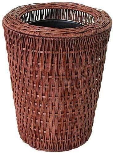 カバーのプレッシャーリングごみ箱ウィービングごみ箱なしのリサイクルごみ箱8Lファミリーベッドルームキッチン (Color : Brown)