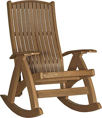 LuxCraft Poly Comfort Rocker, Recycled Plastic Outdoor Rocking Chair, Antique Mahogany