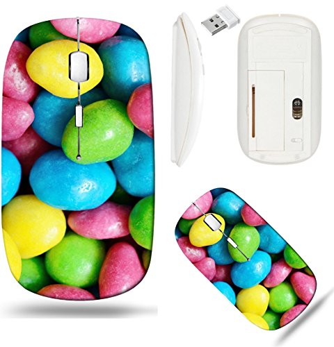 Liili Wireless Mouse White Base Travel 2.4G Wireless Mice with USB Receiver, Click with 1000 DPI for notebook, pc, laptop, computer, mac book Raisins in a colorful glaze Image ID -