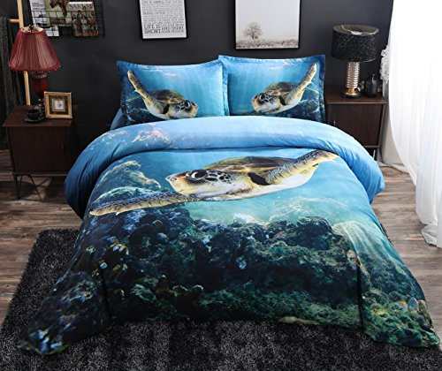 800 Thread Count Duvet Cover Sets King Size,Swimming Turtle Blue Print 3D Bedding Sets, King Flat Sheet 4 Pieces,1 Duvet Cover,1 Flat Sheet,2 Pillowcases, No Comforter. (King)