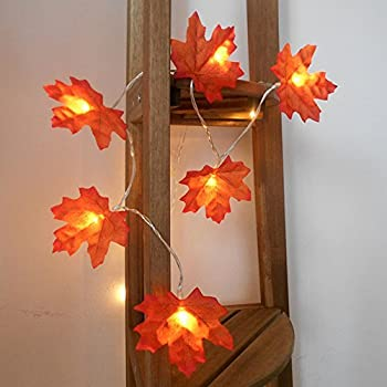 40 LED Maple Leaves Harvest Fall Garland Lights String for Indoor, Thanksgiving, Christmas, Birthday, Parties DIY Decorations
