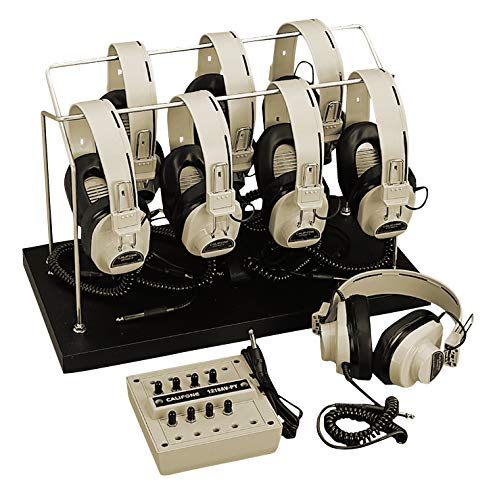 Califone 8-Position Listening Center with Storage Rack, - Headphone Coiled Replaceable Cord Mono