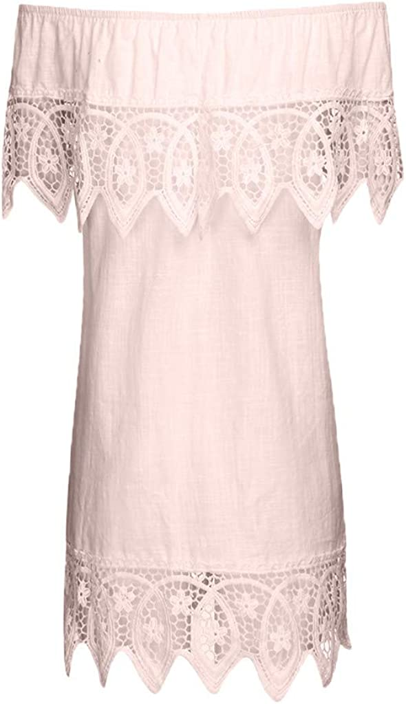 A.M.Feker Womens Casual Slash Neck Short-Sleeved Lace Stitching Top T-shirtWave Art