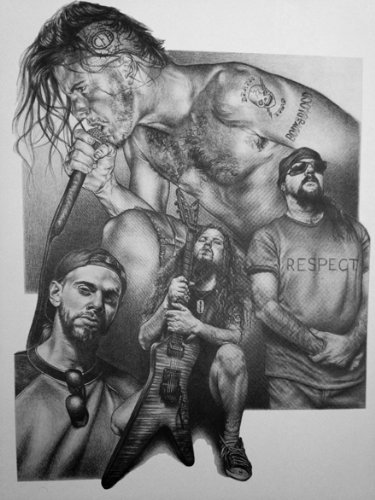 Pantera Original Sketch Prints – Poster Size – Black  White – Features Vinnie Paul and Dimebag Darrell. Print of Highly-Detailed, Handmade Drawing By…