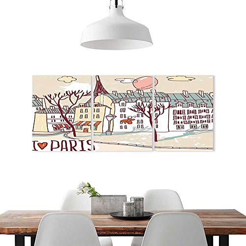 Cheery-Home 3 Piece Wall Art Painting Frameless W16 x H32/3P, Posters Wall Decor GiftParis Decor Collection Illustration Paris Old City Buildings Eiffel Urban Street Balloon Print Cream Pink Green