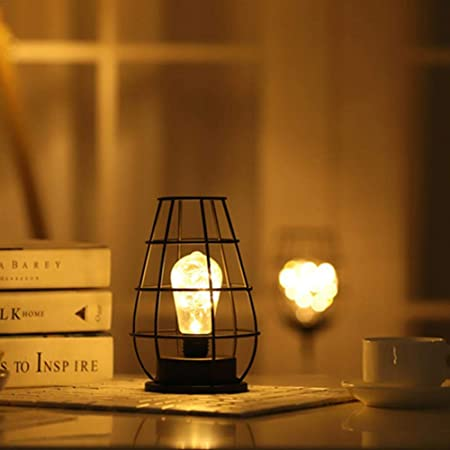 Lámpara de Mesa Decorativa de Metal, Funciona con Pilas, de Iron Winebottle LED, clásica, Elegante lámpara de Escritorio: Amazon.es: Hogar