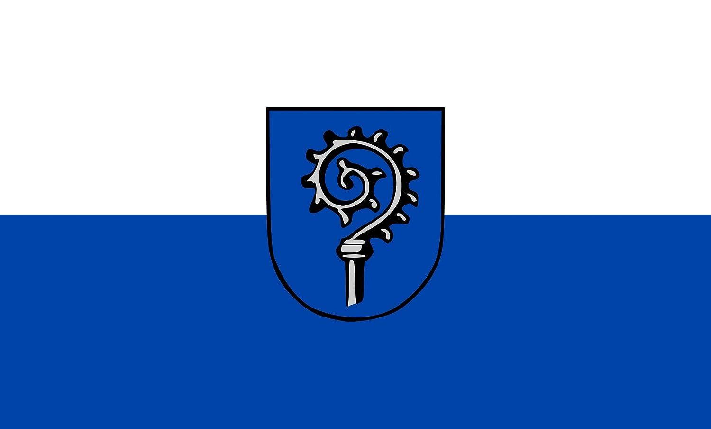 Diplomat magFlags Raum-Fahne mit modernem verchromtem Fahnenständer und Marmor-Fuß   Flagge  Ingelfingen 90x150cm   Höhe  230cm