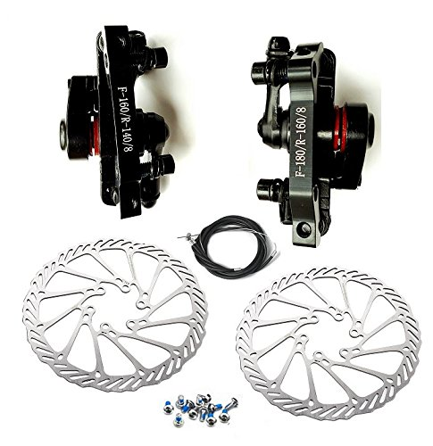 BlueSunshine MTB BB8 Mechanical Disc Brake Front and Rear 160mm whit Bolts and (Bicycle Front Disc Brakes)