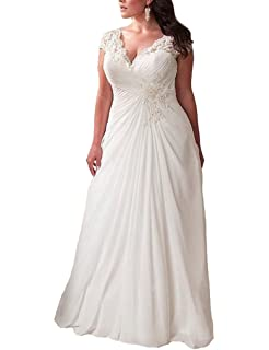 e2218739675 YIPEISHA Women s Elegant Applique Lace Wedding Dress V Neck Plus Size Beach  Bridal Gowns