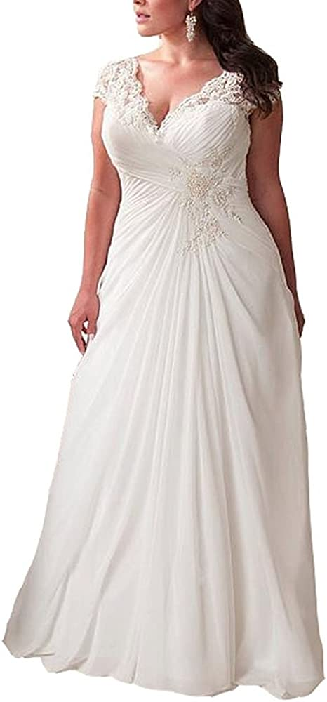 YIPEISHA Women\'s Elegant Applique Lace Wedding Dress V Neck Plus Size Beach  Bridal Gowns