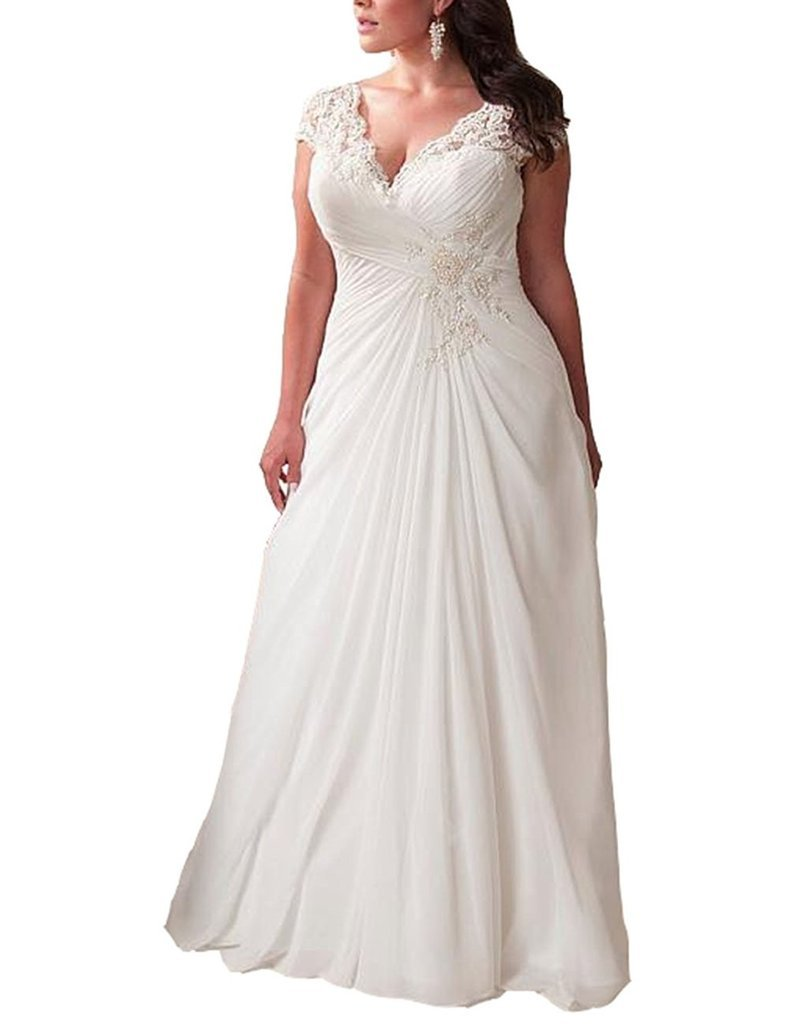 44119942af YIPEISHA Women's Elegant Applique Lace Wedding Dress V Neck Plus Size Beach  Bridal Gowns