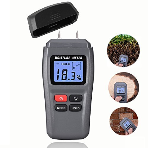 Wood Moisture Meter, DiKaou Wood Humidity Tester Detector with Digital LCD Display, Firewood Humidity Measuring Device, Timber Hygrometer of High Measuring Accuracy by Bluephoto