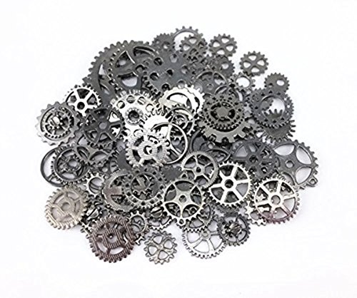 Jewelry Cogs Steampunk Gears Charms Pendant Clock Watch Wheel Gear for Crafting, Jewelry Making Accessory ( 100 Gram ) (Gun Black) from BSTGO