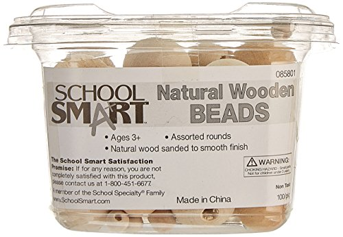 school-smart-wood-assorted-round-carved-bead-natural-pack-of-100