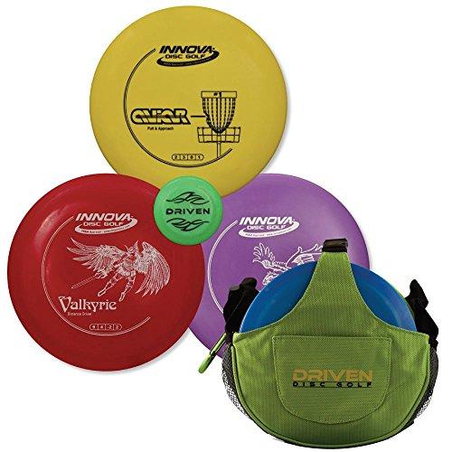 Driven Disc Golf Set - 3 Disc Starter Kit + Kiwi Green Slingshot Bag - Perfect for Beginners - Includes Innova Driver, Midrange, and Putter + FREE Mini Disc and (Bag Starter Kit)