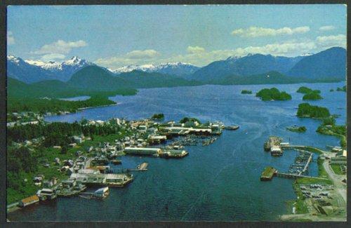 (Air View Harbor Sitka Baranof Island AK postcard 1960s)