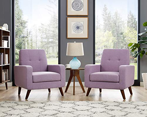Dazone Modern Upholstered Accent Chair Comfy Armchair Tufted Button Linen Fabric Arm Chairs Set of 2 Living Room Furniture Sofa Purple 2019 Updated
