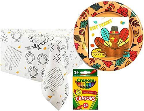 Turkey Fun Thanksgiving Child's Tablecoloring Activity Bundle for 20 Guests