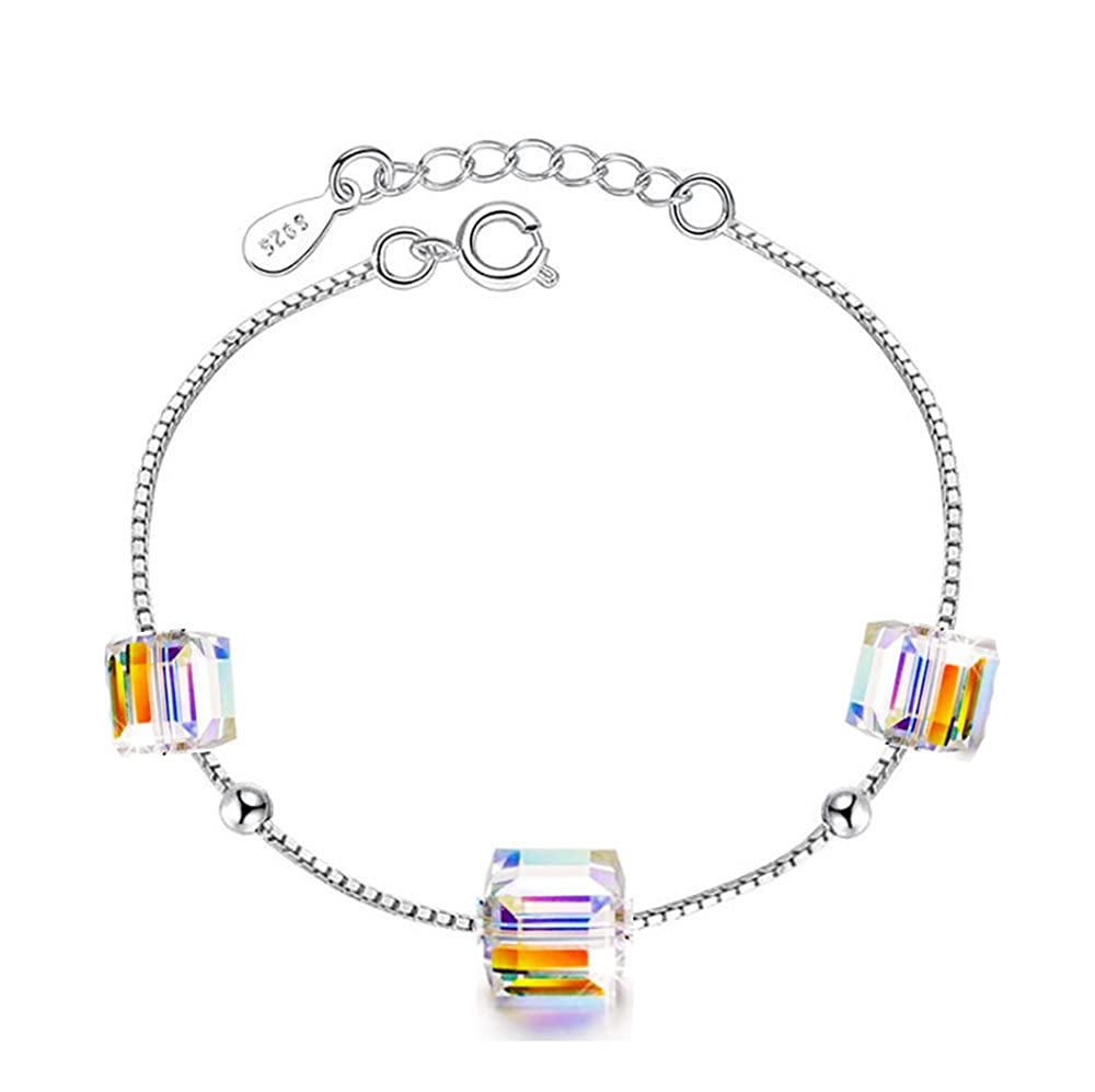 F1822 Bracelet de cheville en argent sterling 925/- Cristaux en forme de cubes Findout Pour femme et fille