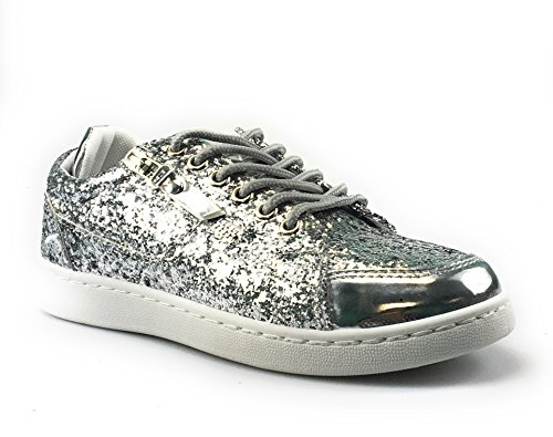 Forever Link Women's Remy-18 Glitter Sneakers | Fashion Sneakers | Sparkly Shoes for Women | Silver-49 7.5 -