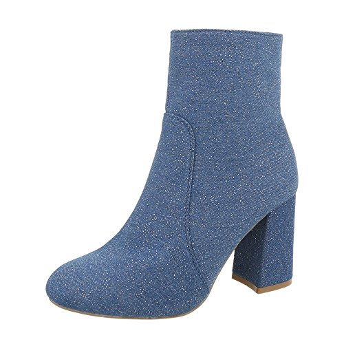 Ital-Design Women's Boots Kitten Heel Heeled Ankle Boots Blue 6258 oNP5sIlyT2