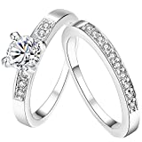 AWLY Womens Pretty 18K White Gold Plated Solitaire CZ Crystal Engagement Ring Set Best Promise Gift for Her Anniversary Wedding Band