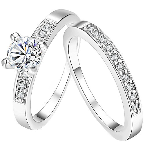 LWLH Jewelry Womens 18K White Gold Plated Temperament Rings Set Solitaire Cubic Zirconia CZ Wedding Band Szie - 18k Ring Wedding White Gold