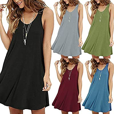 T-Shirt Dresses, DaySeventh Women's Casual Solid O-Neck Swing Simple Sleeveless T-Shirt Loose Camis Dress