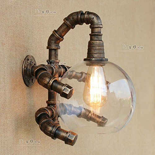 YU-K Antik Nachttischlampe Wohnzimmer Ideen Eisen Wandleuchte Schlafzimmer lampe glas Rohr Wandleuchten, mit Wolfram Lichtquelle