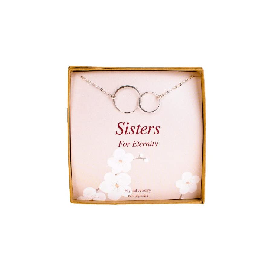 EFYTAL Sterling Silver Sister Birthday Gifts Necklace, 2 Double Circles Sister Necklace Jewelry Gift for Sisters