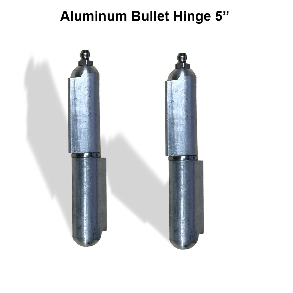Aluminum Weld on Hinge Body Bullet Stainless Steel Bushing/Pin with Grease 5'' Pair