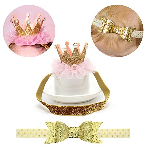 [Baby Girl Birthday Glitter Bow Crown Headband Princess Sparkly Tiara Hair Accessories Set of 2] (Princess Birthday Girl Tiara)
