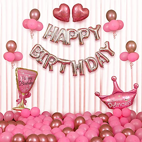 Party Propz Birthday Decoration For Girls – 50 Items Combo Kit – Rose Gold Foil Balloon, Metallic and Chrome Balloon, Pink Heart, Ribbon For Birthday Balloons for Girls, Wife – Room Decorations