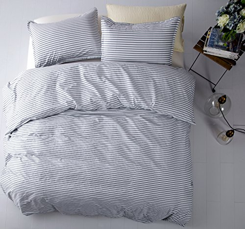 Cabana Stripe Modern Duvet Cover 100-Cotton Twill Bedding Set Geometric White and Navy Distressed Rugby Stripes Print in Dusty Blue Shades Reversible (Queen, Grey) ()